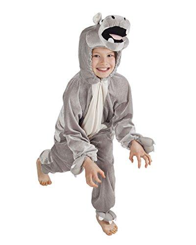 Halloweenia - Kinder Motto-Party Karneval Kostüm Plüsch Nilpferd Onsie, Jumpsuit,Hippo, 116, 6 Jahre, (Hippo Kostüm Kopf)