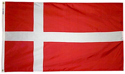 Dänemark Flagge 3x 5ft. Nylon solarguard nyl-glo 100% Made in USA zu offiziellen Vereinten Nationen Design Spezifikationen von Annin flagmakers. Modell 192188 - Nyl Banner