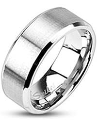 Bungsa® Edelstahl Ring mit schrägem Rand silber gebürstet Schmuckringe für Damen und Herren Verlobungsringe (Ring Damen Fingerring Partnerringe Verlobungsringe Trauringe Damenring Chirurgenstahl)