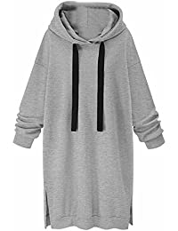 Hoodie Dress Winter Women, Women Long Sleeve Casual Cotton Suelto Hooded Jumper Jumper Vestido…