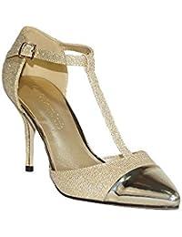 COLOURCHERIE - Zapato Tacón Fiesta Mujer Oro KA016 Zapatos Tacón Fiesta Mujer Elegante Salón Stiletto Tacón