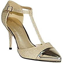 23e2c011076 COLOURCHERIE - Zapato Tacón Fiesta Mujer Oro KA016 Zapatos Tacón Fiesta  Mujer Elegante Salón Stiletto Tacón