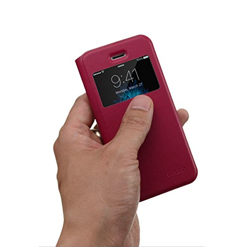 iPhone SE / 5S / 5 Flip Hülle, doupi FlipCover mit Sichtfenster Deluxe Magnet Schutzhülle Book Style Ständer Case, rot pink Rot