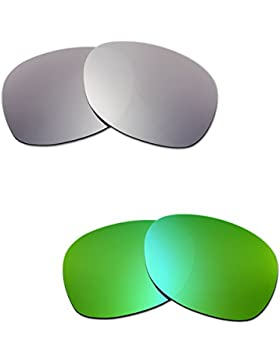 Hkuco Plus Mens Replacement Lenses For Ray-Ban Wayfarer RB2132 55mm Titanium/Emerald Green Sunglasses