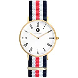 Handcrafted Matt gold Men's and Women's Analogue Wristwatch Fashionable Chronograph with Easily Changeable NATO Wristband - gold, blue white red - with a 1.8 cm Wide Nylon Strap by VON FLOERKE