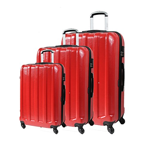 Bagage Lot de 3 Valises - 4 Roues - Rigide - Ultra Résistant Légère - Polycarbonate (Set de 3 Valise) de ICEPAK (Rouge)