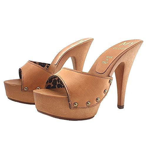 Zoccoli da Donna in Cuoio Tacco 13 cm Sexy Clogs - MY3910 CUOIO