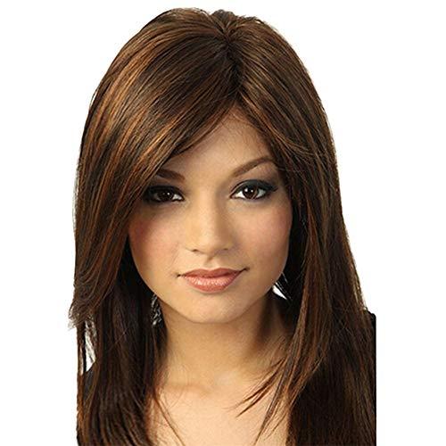 Parrucca sintetica marrone ragazza naturale parrucca lunga piuma dritto alla moda parrucca sintetica
