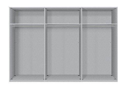 Express Möbel Schwebetüren Kleiderschrank mit Spiegel 300 cm breit, 3-türig, Eiche Silber Nachbildung, BxHxT 300x216x68 cm, Art Nr. 45950-635