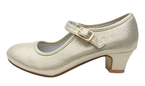La Senorita Prinzessinnen Schuhe Gold Perle ELSA Frozen Spanische Flamenco Schuhe (Größe 34 - Innenmaß 22 cm, Gold)