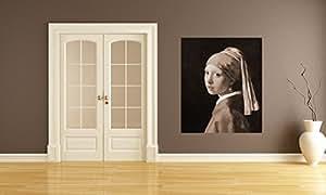 """Bilderdepot24 Carta da parati in TNT Fotomurali Jan Vermeer - Antichi Maestri """"La ragazza con l'orecchino di perla - seppia"""" 65x80 cm - pasta incluso - direttamente dal produttore"""
