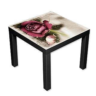 AWS-Werbetechnik Couchtisch Beistelltisch Motiv Love Letter Länge 55 cm - Breite 55 cm - Höhe 45cm (schwarz)