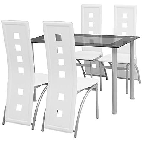 vidaXL Ensemble à dîner cinq pièces Blanc Table et chaises de salle à manger cuisine