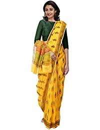 Unnati Silks Women Hand Block Printed Pure Kota Cotton Saree with blouse piece from the Weavers of Rajasthan(UNM31446+Yellow+free size)
