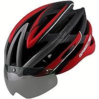 HOAEY Casco da bicicletta casco da bicicletta Ultralight traspirante e antiurto adulto MTB Strada Caschi di sicurezza con visiera (56–62cm), Uomo, B