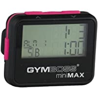 Gymboss miniMAX Interval Timer and Stopwatch - BLACK / PINK SOFTCOAT