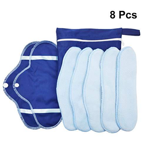 SUPVOX 8 Pcs Wiederverwendbare Damenbinden Stoffbinden Slipeinlagen mit Flügeln waschbare Menstruation Pads für Menstruation Inkontinenz -