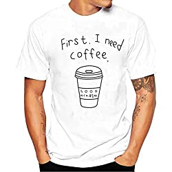 Camiseta para Hombre, ❤️Xinantime Hombres Que Imprimen la Camisa de Las Tees Camiseta Manga Corta Chico Blusa (L, ❤️Blanco)