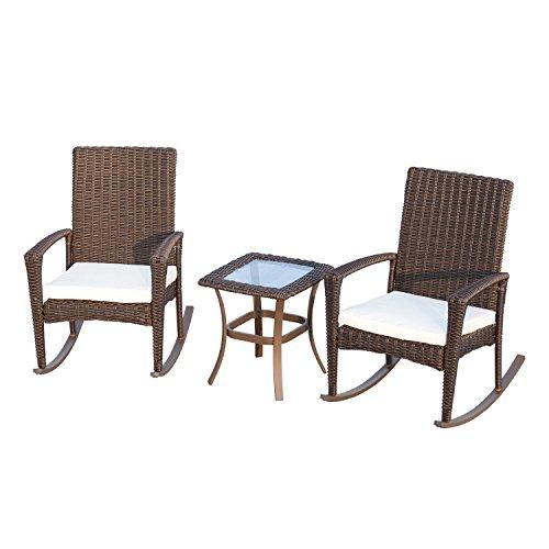 Outsunny 3Rattan Garten Bistro Set 2Rocken, Stühle + Kaffee Tisch im Innen-Möbel braun