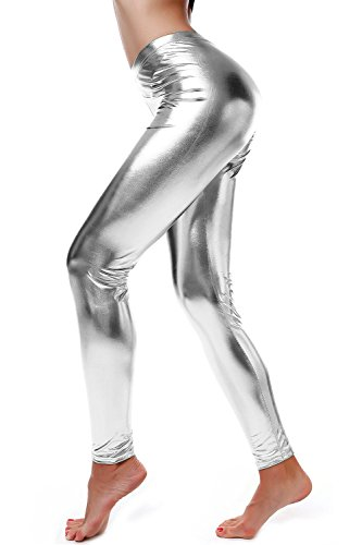 diamondkit-liquid-wet-look-shiny-metallic-stretch-leggings-m-silver