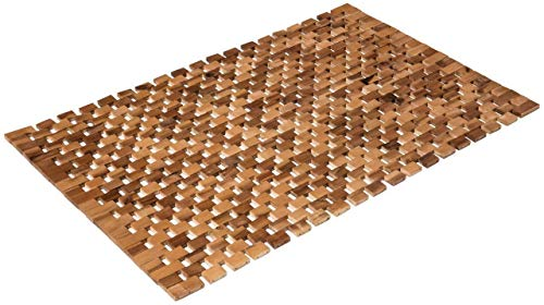 PANA Badematte 100% Akazienholz/Badvorleger rutschfest   Holzbadematte aus geöltem Echtholz 80 x 50 cm -