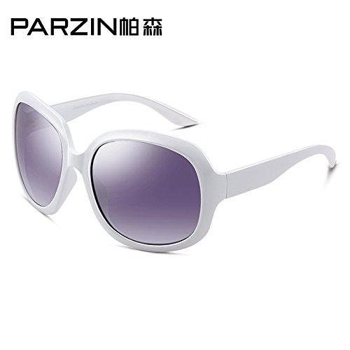 Komny Sonnenbrille Frauen Mode Retro Polarisator große Rahmen Fahren Sonnenbrillen Sonnenbrillen weiß