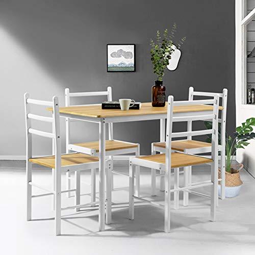 Arredamento Colore Bianco E Legno.Bakaji Tavolo Da Pranzo Con 4 Sedie Con Struttura In Metallo E Piani