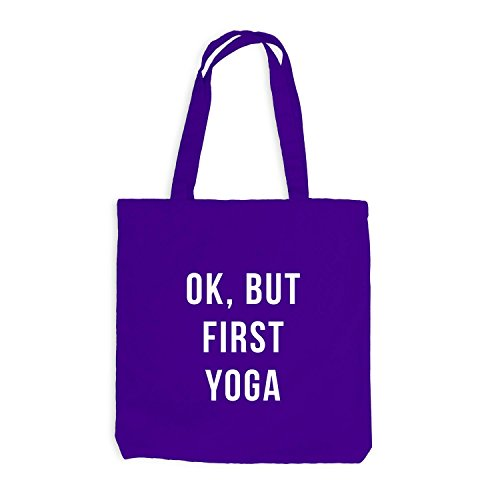 Jutebeutel - Ok, But First Yoga - Wakeup Style Violett