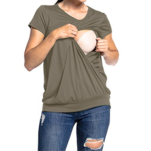 Umstandsshirt Sommer,Loveso ❤️ Damen Umstandsmode Top Stillshirt Schwanger T-Shirt Umstandsshirt Umstandstop Lagendesign Wickeln-Schicht (★Armee-Grün, L) (Rock, Top, Strumpfhose)