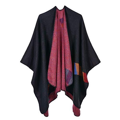 Hemiaodd mantella donna, sciarpe invernali coperta poncho in cashmere autunnale, scialle in cashmere con scialle mantella donna poncho nero e