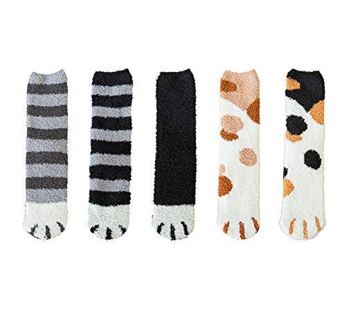 5er Pack süße Bunte Katze Klaue Design Plüsch gemütliche Pantoffel Socke für Damen Winter warm
