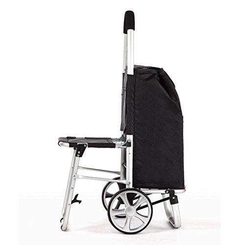 MEYLEE Aluminiumlegierungs-Laufkatze mit Sitz und Einkaufstasche, schwarzer Einkaufslebensmittelgeschäft-faltbarer Wagen - maximale Unterstützung 80kg