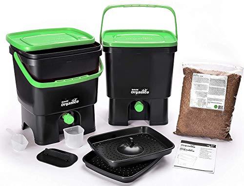 Skaza - mind your eco Composteur de Cuisine, Noir/Vert, 3,5Gallon