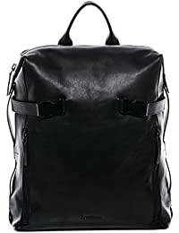 "FEYNSINN sac à dos MATS - XL - sac à dos en cuir approprié pour 15.4"" - backpack noir en cuir véritable"