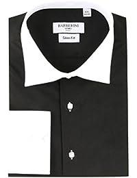 Chemise de Cérémonie Homme col et poignets blancs coloris noir