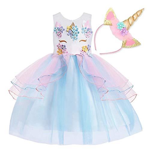 NNDOLL Mädchen Einhorn Rüschen Blumen Party Cosplay Kleid Brautkleid Princess Blue 130 5 6 ()