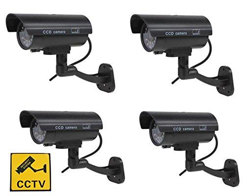 Kamera-Attrappe mit Blinkender LED, für Innen- und Außenbereich, 4 Stück -