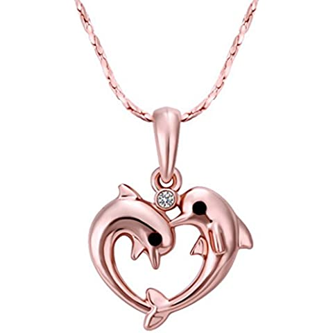 Aivtalk Collana ciondolo a motivo delfino, placcato oro rosa, con zirconia cubica, colore ciondolo regalo romantico con forme a tema San Valentino, festa della mamma cerimonia sera - Placcato Ciondolo Delfino