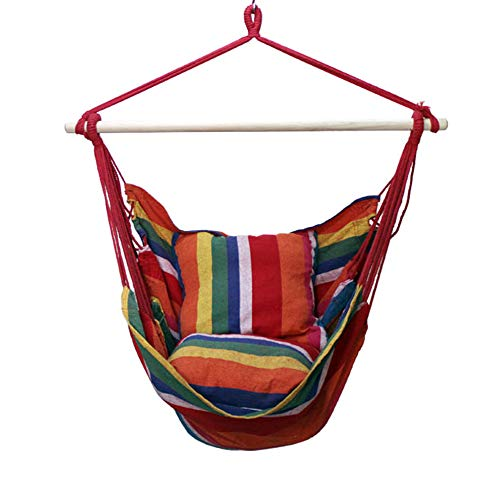 Zqq sedia a dondolo grande amaca, seduta da giardino rilassante all'aperto, 2 morbidi cuscini imbottiti, tela di cotone per esterni coperta da spiaggia,rosso