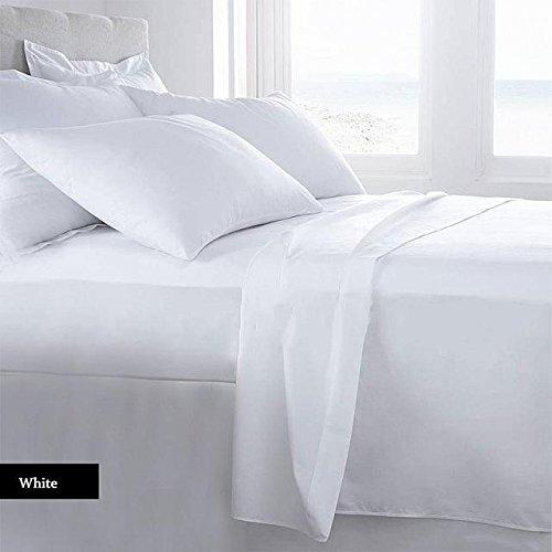 Authentische Ägyptische Baumwolle Bettlaken-Set passend für Matratzen bis 45,7cm Tief 1000TC, baumwolle, weiß, Queen (1000 Tc Blatt)