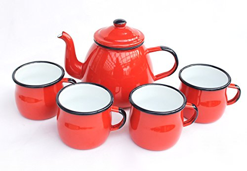 DanDiBo 5 TLG. Set Teekanne + 4 Tassen 582AB+501w/7 Rot emailliert Kaffeekanne Emaille E