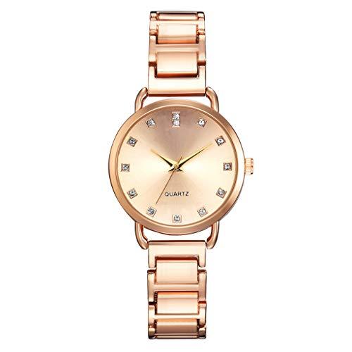 Tohole Damenuhr Damen Quarz Uhr Damenmode Lederband Analoge Quarz-runde Armbanduhr Uhren Kreative Ahornblattuhr der Damenmode(Rose Gold,One size)