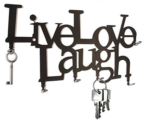 Live Love Laugh - key holder - key hook - steel , Black - 6 Hooks