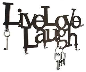 Steelprint Porte-clés mural avec crochets Live Live Laugh