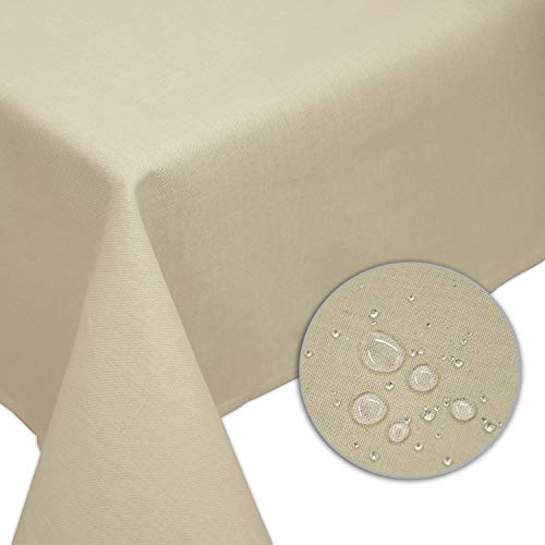 Nurtextil24 Tischdecke Leinen-Optik Lotuseffekt (weitere Farben & Größen) Fleckschutz Outdoor Beige 130 x 220 cm
