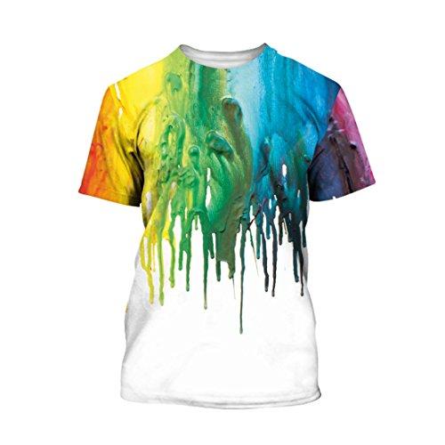 Bunte Farbe Kurzarm T Shirt Rundhalsausschnitt Tie Dye Kleine Kinder T Shirt XL (Dye Klein Tie Herren)