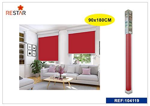REAL STAR Estor Enrollable translúcido Liso (Rojo, 90x180cm)