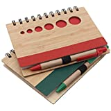 Kurtzy Diary Ruled Spiral Writing Daily Planner Notebook With Pen Wood Finished Cover 70 Pages (Pack Of 2)(Assorted Colors)