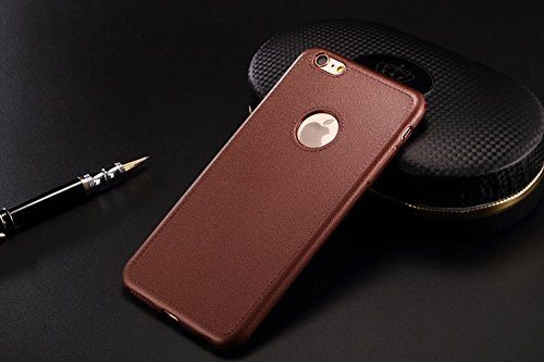 mStick Leather Look Soft Silicone Back Cover Case For Apple iPhone 6 / 6S Brown  available at amazon for Rs.99