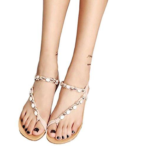 Manadlian ♥ Damen Sandalen ♥ Frauen flache Schuhe Perlenböhmen Freizeit Sandalen (36, (Gladiator Australien Schuhe)